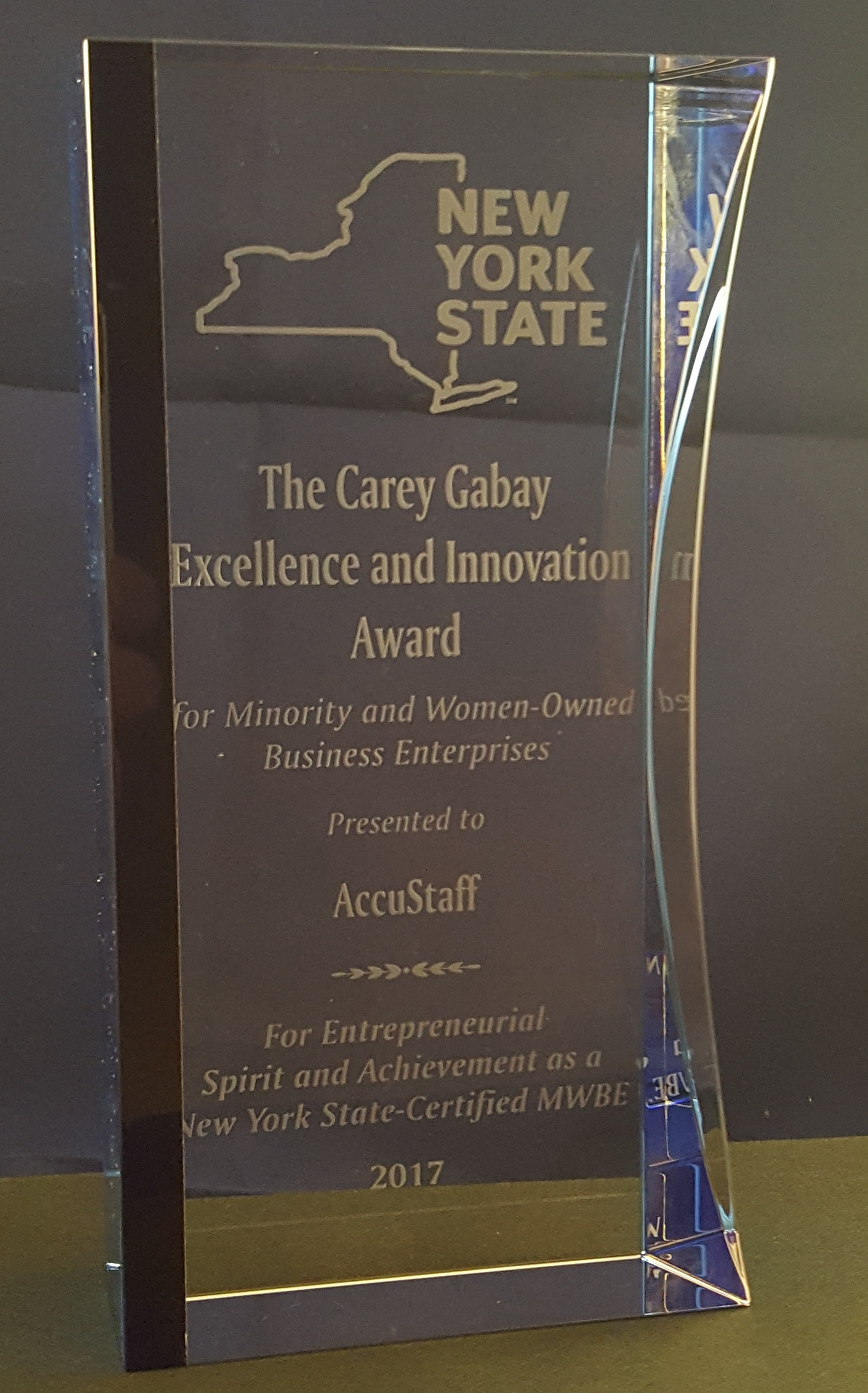 glass trophy for Carey Gabay Innovation Award
